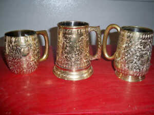 Etched Brass Tavern Cups