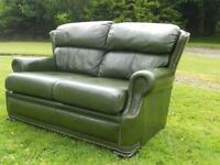 Green Leather Studded Chesterfield Sofa
