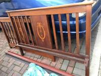 Beautiful vintage inlaid double bed
