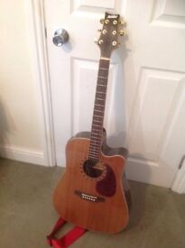 Semi Acoustic Ashton Guitar. With Built in Tuner and Gig bag FOR SALE