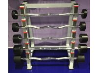 Ez curl bar Set Of 5 With Heavy Duty Rack