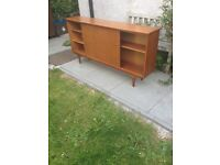A & H McIntosh Long Slim Teak Glass Sliding Door Bookcase/Cabinet