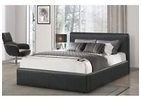 DOUBLE LEATHER BED AND MATTRESS & STORAGE NEW FAST FREE DELIVERY