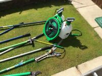 Garden tools and 2 pressure sprayers