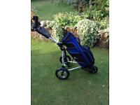 Stow matic golf club trolley with Nike cart bag