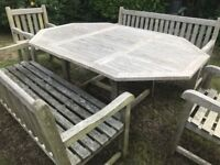 Wooden Garden Furniture set - Table, benches and chairs