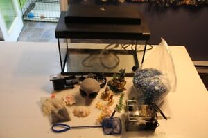 10 gallon fish tank with supplies