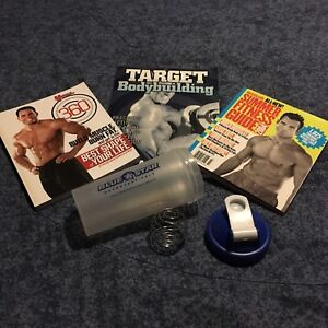 Workout books and shaker bottle