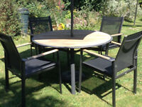 Barlow Tyrie Garden Furniture - Table + Chairs + New Parasol *Possible delivery*