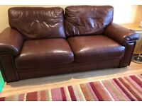3 seater sofa, two armchairs, one footstool Brown Leather
