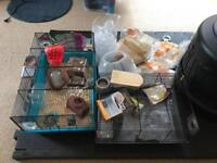 hamster cages, lots of kit & sawdust