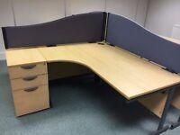 office furniture 1.6 meter radial desk with pedstal