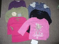 Bundle of 6 long sleeve (black and pink are 3/4 sleeve) tops/t-shirts for girl 6-7 years old.