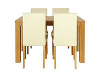 Pemberton Oak Effect Dining Table & 4 Cream Chairs.