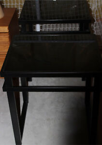 Black Steel and Glass Coffee and End Tables