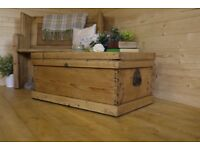 Antique rustic solid waxed pine old chest, trunk, coffee table, storage box.