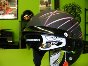 Matte Black & Pink Gmax Beanie Helmets with Sunvisor at RE-GEAR
