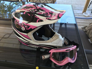 Woman's helmet and goggles