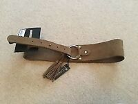 Ladies Next brown leather belt with tassles BNWT size XS