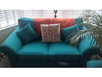Sofology Teal Fabric Two Piece Sofa, Great Condition 700 ONO