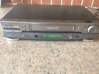 Hitachi video plus deluxe player . Satellite receiver control/ Nicam. NTSC Playback.