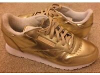 New UK Size 7 Women's Reebok Classic Spirit Face Gold/White Trainers