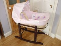 MOSES BASKET,CRIB,COT WITH ROCKING STAND.ONLY USED A COUPLE OF TIMES