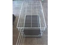 VGC 36 INCH MEDIUM / LARGE SILVER 2 DOOR COLLAPSIBLE FOLDING PET DOG CAGE CRATE