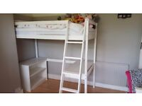Children's White wooden high bed with desk area and shelf storage