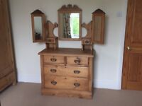 Antique Victorian Pine Dressing Table with Mirrors