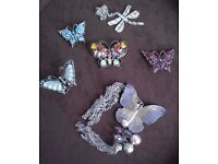 5 Butterfly and 1 Dragonfly Costume Jewellery