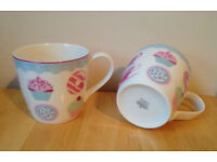 Lovely Brand New M&S Set Of 4 Super Fine China Cakes & Teapots Design Mugs RRP £32
