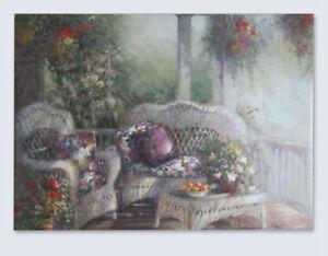 Lovely Print on Canvas Roses Wicker Furniture on Veranda