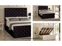 DOUBLE CRUSHED VELVET OTTOMAN CHESTERFIELD BED WITH WIDE RANGE OF MATTRESS