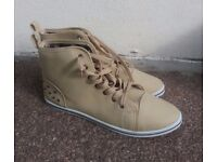 Faux Leather High Top Trainers UK8