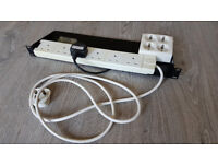 19 inch 1u rack tray with mains power distribution with UK and Euro sockets