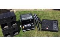 Mixing Desk, flight case, power monitor & Bass Bins