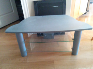 Grey TV Stand with Glass Shelves For Sale