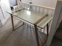 John Lewis Glass top Desk with Oak legs