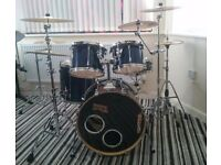 Tama superstar drum kit, cymbals and cases