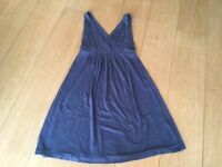 White Company mid-blue jersey empire line dress, would also suit maternity