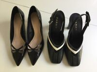 Zara limited edition shoes size 5, two pairs, vintage look kitten heels and sling backs