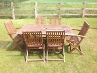 Wooden Table and 6 Chair Patio Set
