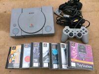 PS1 original RETRO console plus 8 games - £29