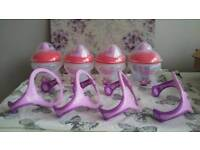 Four tommee tippee bottles, beakers, baby cups with handles. New