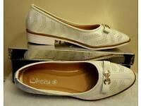 white cc ballerina pumps