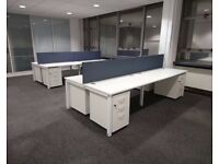 56 - BENCH DESKS - BRAND NEW - WHITE TOPS+ WHITE FRAMES - HI QUALITY