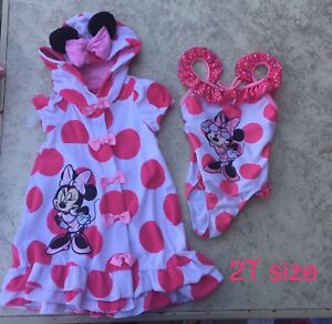 Minnie Mouse bathing suit and mAtching cover up 2T
