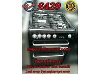 Hotpoint 60cm Gas Cooker Double Oven Black New