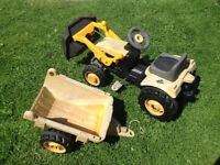 Toy pedal tractor digger with trailor